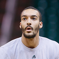 25 January 2016: Utah Jazz center Rudy Gobert (27) warms up prior to the Detroit Pistons 95-92 victory over the Utah Jazz, at the Vivint Smart Home Arena, Salt Lake City, Utah, USA.