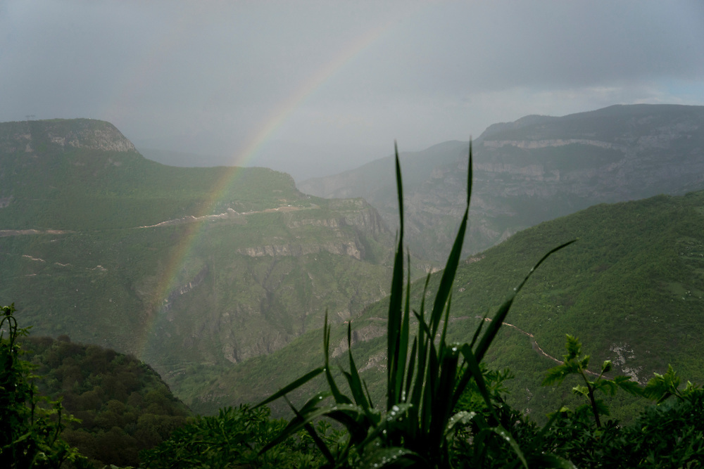 A rainbow visible from the Tatev Monastery on Saturday, May 7, 2016 in Tatev, Armenia.