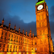 British Houses of Parliament, with Big Ben, at night