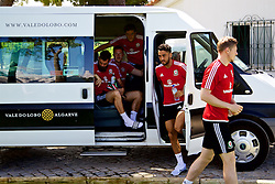 VALE DO LOBO, PORTUGAL - Friday, May 27, 2016: Wales' Neil Taylor arrives for training on during day four of the pre-UEFA Euro 2016 training camp at the Vale Do Lobo resort in Portugal. (Pic by David Rawcliffe/Propaganda)