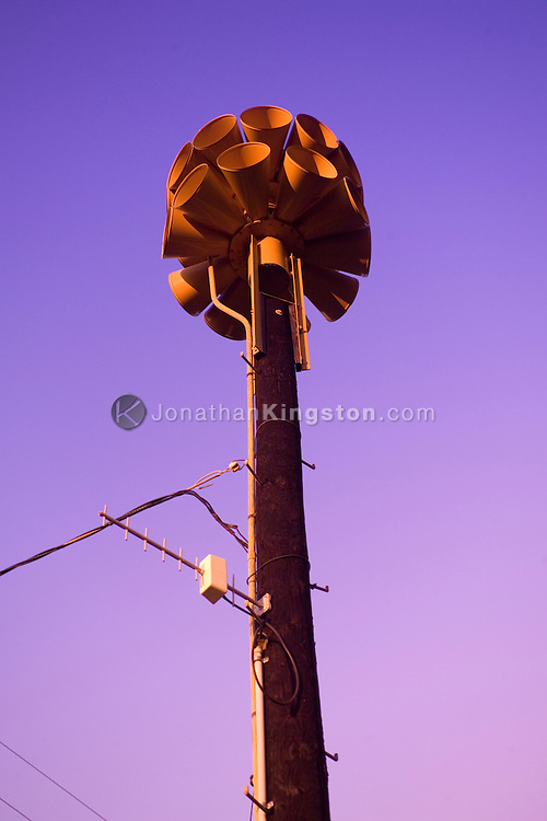 MOLOKAI, HI - Tsunami warning system sirens on the Pacific island of Molokai, Hawaii.