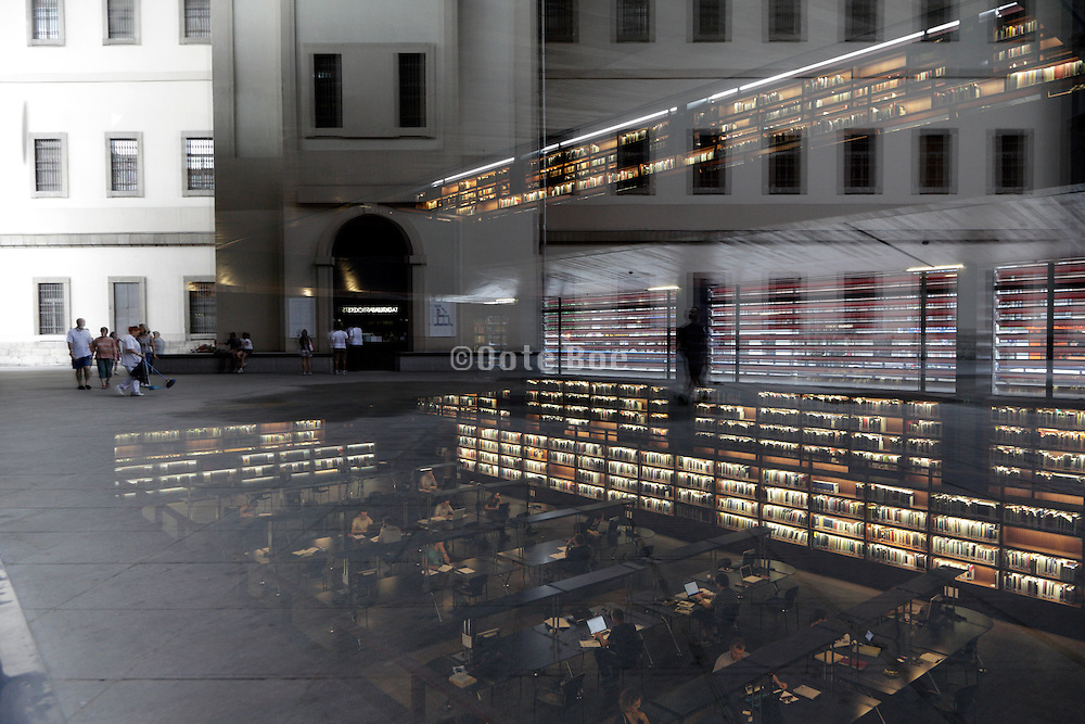 library with street in window reflection Museo centro de arte Reina Sofia