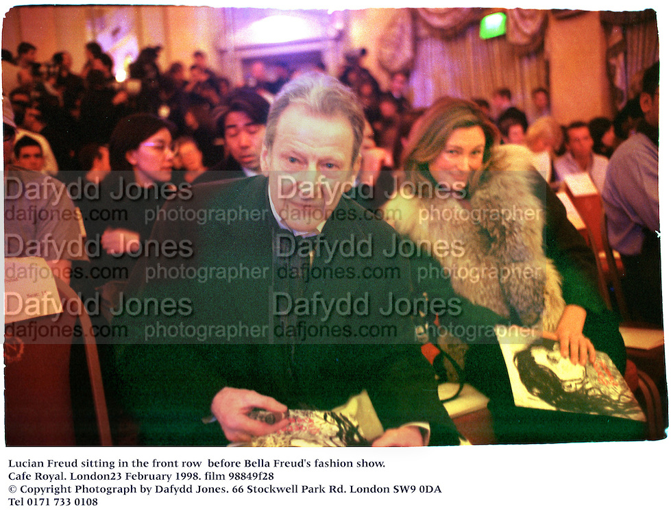 Lucian Freud sitting in the front row  Bella Freud's fashion show. Cafe Royal. London23 February 1998. film 98849f28<br />