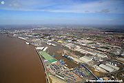 aerial photograph of  the Port of Hull docks in Kingston upon Hull England UK