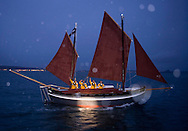 "08.10.20 Pete Goss and his Cornish Lugger ""The Spirit of Mystery"" sets sail from Newlyn on Route to Cape Town. Pete and his crew of family members are recreating the voyage between Newlyn and Melbourne Australia.......All pictures must be credited ""Lloyd Images""."