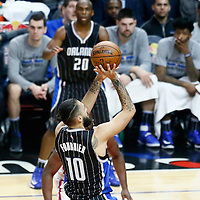 11 January 2017: Orlando Magic guard Evan Fournier (10) takes a jump shot during the LA Clippers 105-96 victory over the Orlando Magic, at the Staples Center, Los Angeles, California, USA.
