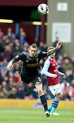 BIRMINGHAM, ENGLAND - Easter Sunday, March 31, 2013: Liverpool's Daniel Agger in action against Aston Villa during the Premiership match at Villa Park. (Pic by David Rawcliffe/Propaganda)