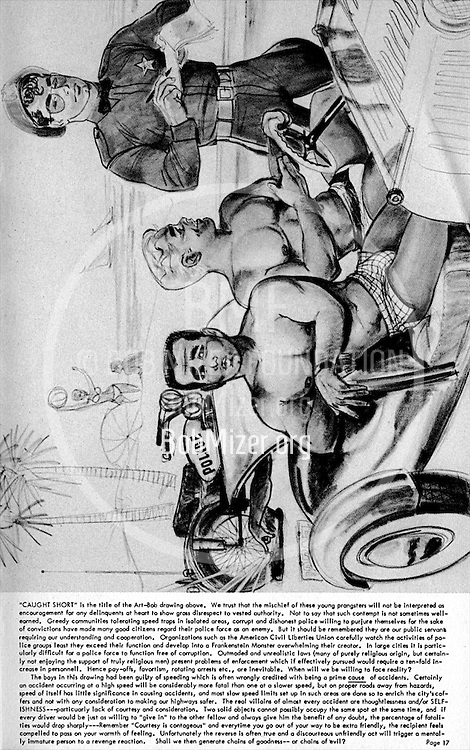 Bob Mizer first published the beefcake magazine Physique Pictorial in 1951.  It advertised his studio Athletic Model Guild, as well as Bruce of Los Angeles, Western Photography Guild, Dave Martin, and others.
