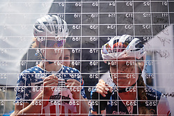 Ruth Winder (USA) and Tayler Wiles (USA) sign on for Stage 10 of 2019 Giro Rosa Iccrea, a 120 km road race from San Vito al Tagliamento to Udine, Italy on July 14, 2019. Photo by Sean Robinson/velofocus.com