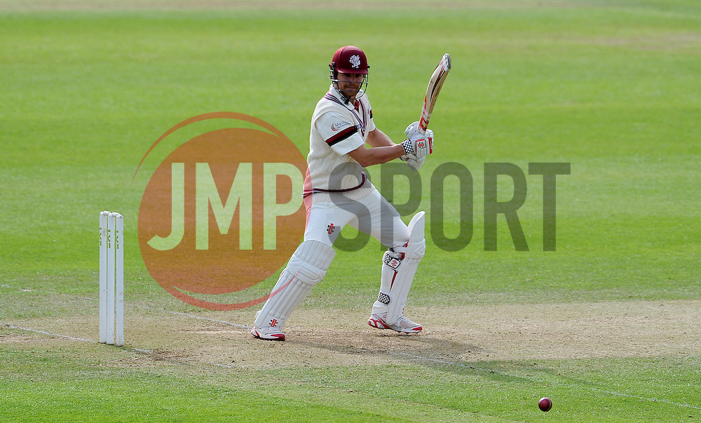 Somerset' James Hildreth cuts the ball. Photo mandatory by-line: Harry Trump/JMP - Mobile: 07966 386802 - 10/05/15 - SPORT - CRICKET - Somerset v New Zealand - Day 3- The County Ground, Taunton, England.