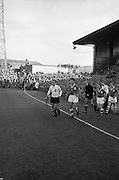 13/10/1963<br /> 10/13/1963<br /> Ireland v Austria, European Championship match at Dalymount Park, Dublin. Ireland won the game 3-2. The Captains, Austria's  Karl Koller  and Ireland's Charlie Hurley  lead the teams onto the pitch.