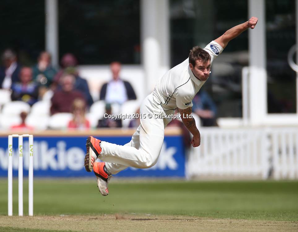 Doug Bracewell bowls during the four day game between Somerset and a New Zealand XI at the County Ground, Taunton. Photo: Graham Morris/www.cricketpix.com (Tel: +44 (0)20 8969 4192; Email: graham@cricketpix.com) 09052015