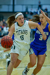 BLOOMINGTON, IL - January 04: Brooke Lansford defended by Miranda Fox during a college women's basketball game between the IWU Titans  and the Millikin Big Blue on January 04 2020 at Shirk Center in Bloomington, IL. (Photo by Alan Look)
