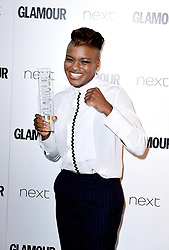 *EMBARGOED UNTIL 22:30 Tuesday 6th June 2017* Nicola Adamswith the W Channel Sportswoman Award in the press room at the Glamour Women of the Year Awards 2017, Berkeley Square Gardens, London.