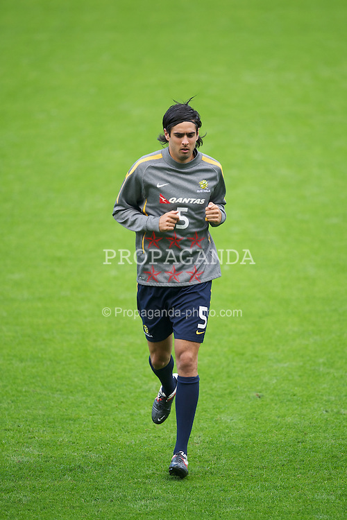 CARDIFF, WALES - Tuesday, August 9, 2011: Australia's former Wales Under-21 international Rhys Williams during a training session at the Cardiff City Satdium ahead of the International Friendly match against Wales. (Photo by David Rawcliffe/Propaganda)