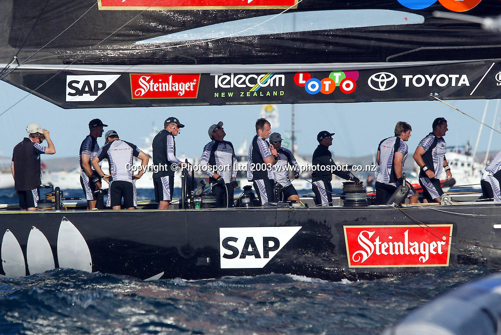 16 February 2003, Americas Cup, Race day two, Hauraki Gulf, Auckland, New Zealand.<br />