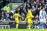 GOAL - Chelsea Forward Pedro celebrates 0-1 with Chelsea Midfielder Willian and Chelsea Midfielder Eden Hazard during the Premier League match between Brighton and Hove Albion and Chelsea at the American Express Community Stadium, Brighton and Hove, England on 16 December 2018.