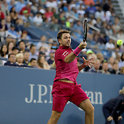 2016 U.S. Open - Day 6   Stan Wawrinka of Switzerland in action against Daniel Evans of Great Britain in the Men's Singles round three match on Louis Armstrong Stadium on day six of the 2016 US Open Tennis Tournament at the USTA Billie Jean King National Tennis Center on September 3, 2016 in Flushing, Queens, New York City.  (Photo by Tim Clayton/Corbis via Getty Images)