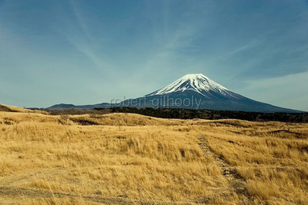 Mt Fuji seen from a walk that takes trekkers through parts of the Asagiri Plateau in Shizuoka Prefecture Japan on 22 March 2013.  Photographer: Robert Gilhooly