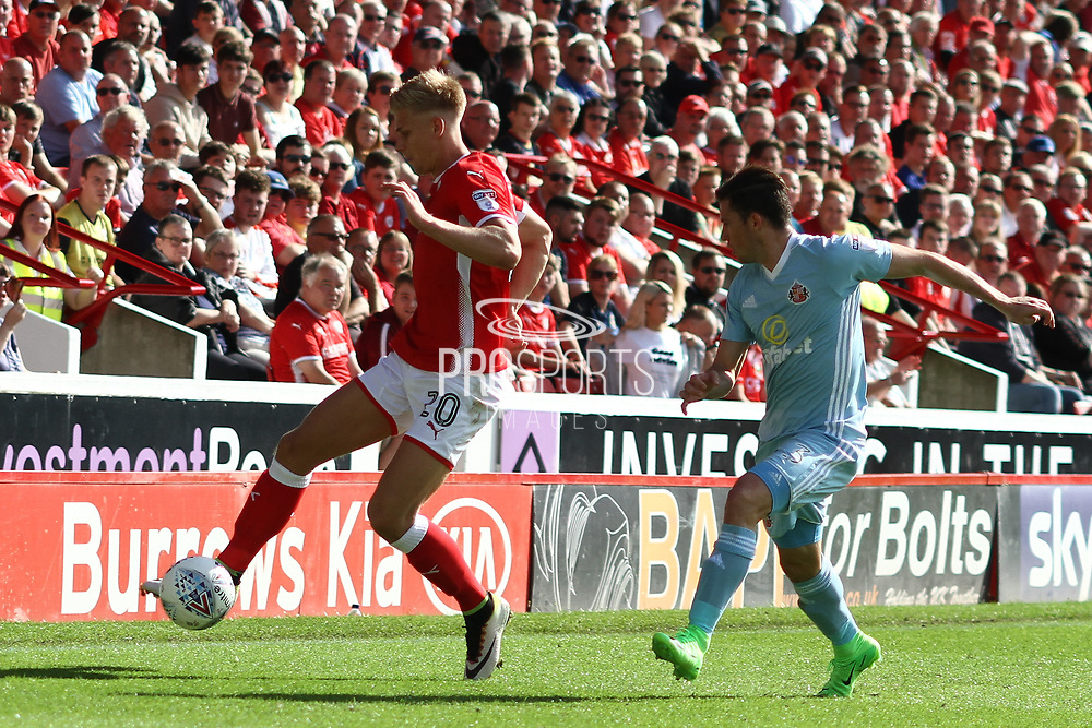 Barnsley midfielder Brad Potts (20) during the EFL Sky Bet Championship match between Barnsley and Sunderland at Oakwell, Barnsley, England on 26 August 2017. Photo by Justin Parker.