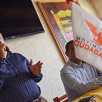 Toluca, México.- Jorge Zendejas Leyva, Secretario Estatal de Acción politica, durante conferencia de prensa, donde se destapó como aspirante a la dirigencia estatal de Moviento Ciudadano. Agencia MVT / Arturo Hernández.
