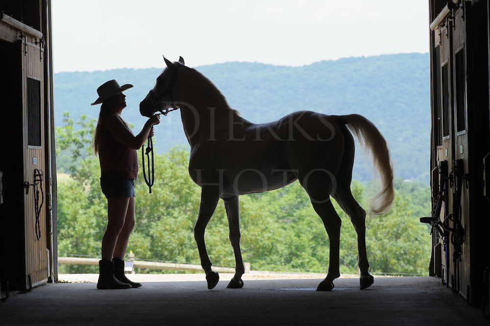 Woman and horse silhouetted in open barn door with mountains behind, an Arabian stallion and a country girl in summer wearing cowboy hat, shorts, and boots.