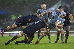 December 8, 2018 - Galway, Ireland - James Connolly of Connacht tackled by Yohan Vivalda of Perpignan during the European Rugby Challenge Cup between Connacht Rugby and Parpignan at the Sportsground in Galway, Ireland on December 8, 2018  (Credit Image: © Andrew Surma/NurPhoto via ZUMA Press)