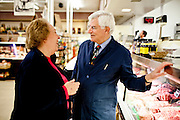 Darrell Corti chats with a customer at Corti Bros. in Sacramento, Calif., March 3, 2012.