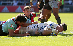 Exeter Chiefs' Dave Ewers scores their first try during the Aviva Premiership match at Twickenham Stoop, London.