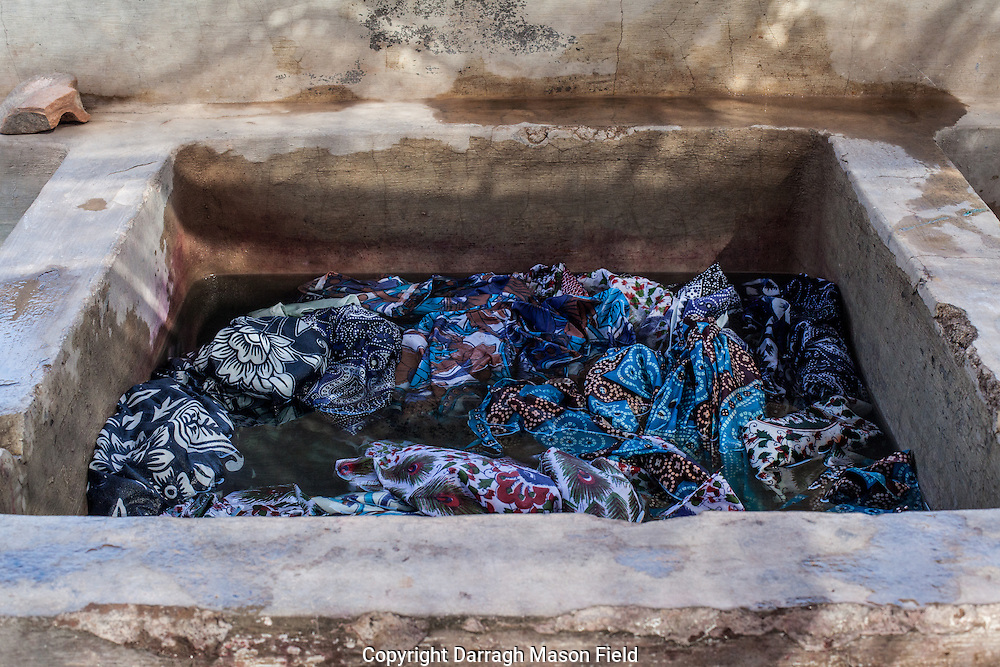 Sari's colour set in chemical baths.