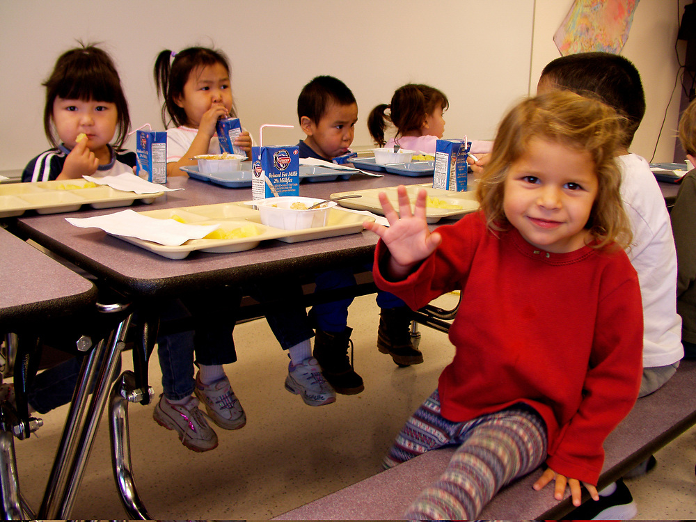 Alaska. Barrow. Schoolchildren involved in group learning activities in the integrated schools of the Inupiat region.