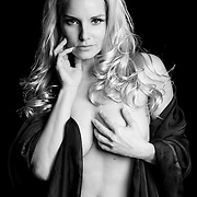 model, black and white, studio, one light, blonde, woman