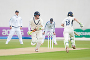 Sam Robson (l) and Nick Gubbins of Middlesex runing between the wicket during the Specsavers County Champ Div 1 match between Hampshire County Cricket Club and Middlesex County Cricket Club at the Ageas Bowl, Southampton, United Kingdom on 14 April 2017. Photo by David Vokes.