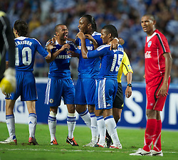 24.07.2011, Rajamangala National Stadium, Bangkok, THA, Chelsea FC Asia Tour, Thailand All Star XI vs Chelsea FC, im Bild // Chelsea's Florent Malouda celebrates scoring the third goal against Thailand All Star XI with team-mates Ashley Cole and Didier Drogba at the Rajamangala National Stadium in Bangkok on the club's preseason Asia Tour, EXPA Pictures © 2011, PhotoCredit: EXPA/ Propaganda/ D. Rawcliffe *** ATTENTION *** UK OUT!