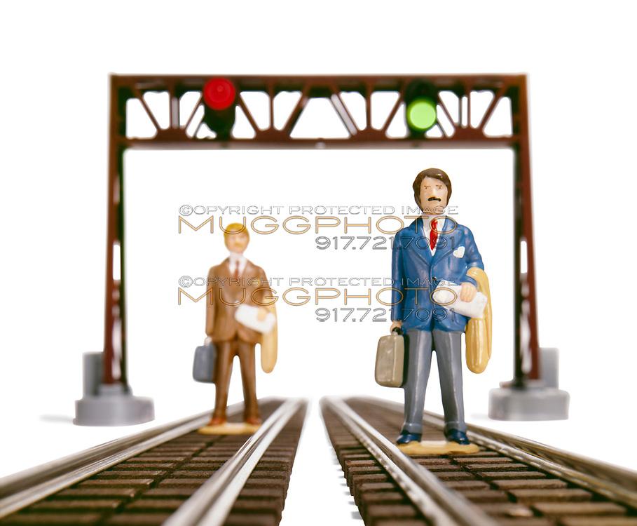 Men on train track on white background