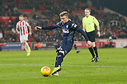 Goal scored by  Leeds United midfielder Ezgjan Alioski (10) in injury time during the EFL Sky Bet Championship match between Stoke City and Leeds United at the Bet365 Stadium, Stoke-on-Trent, England on 19 January 2019.