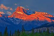 Canadian Rocky Mountains  at sunrise.<br />Along the David Thompson Highway<br />Alberta<br />Canada