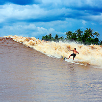 Mikey Barber surfing the tidal bore wave on the Kampar River in Sumatra, also known as Bono and Seven Ghosts.
