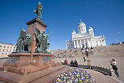 Senate Square; the lutheran Cathedral. Statue of Alexander II, a Russian Tsar.