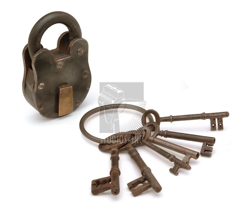 lock and keys on white