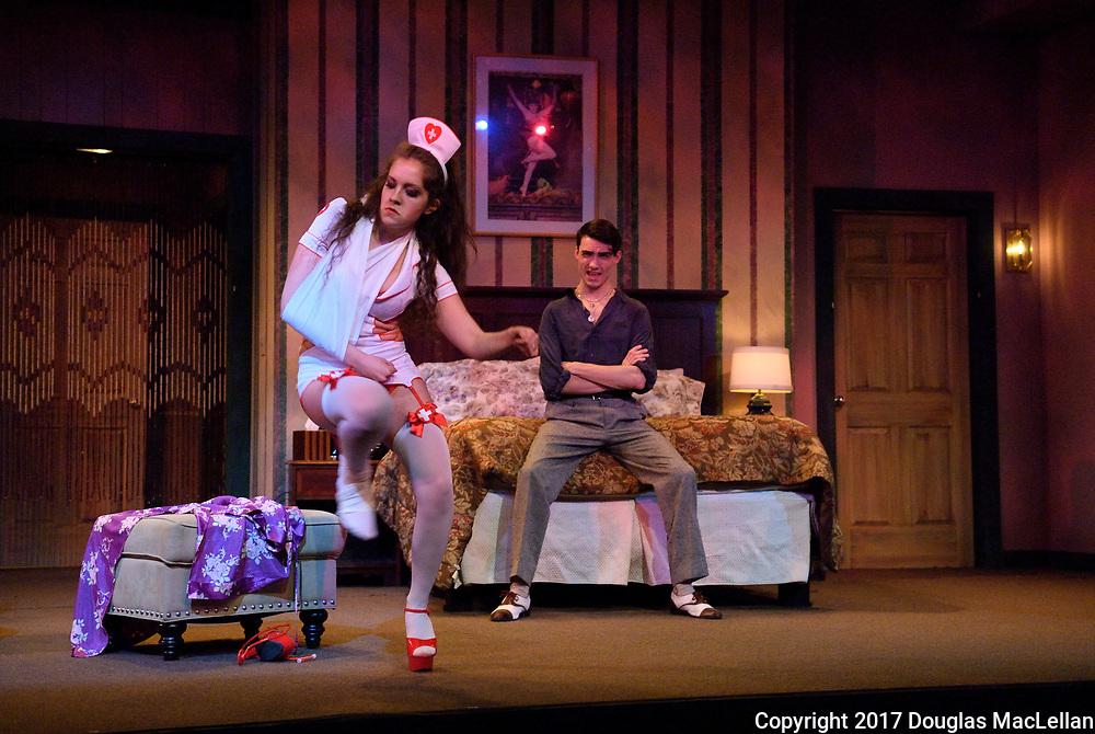 "CANADA, Windsor. March 2017. ""Bedtime Stories"" by Norm Foster. Directed by Gordon McCall. A University Players production."