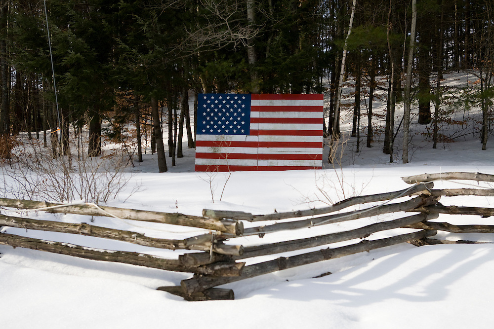 An American flag in Plymouth, NH, on Sunday, Dec. 30, 2007.