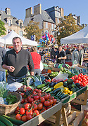 """Rennes, FRANCE.   Saturday Morning Market, """"General View of the apple stalls, Market located. Marché des Lices Town hall square. Rennes Old quarter, Brittany., Saturday  26/09/2009, © Peter SPURRIER, NIKON - COOLPIX P6000 - 1/190 - f4.5  6.8MB MB"""