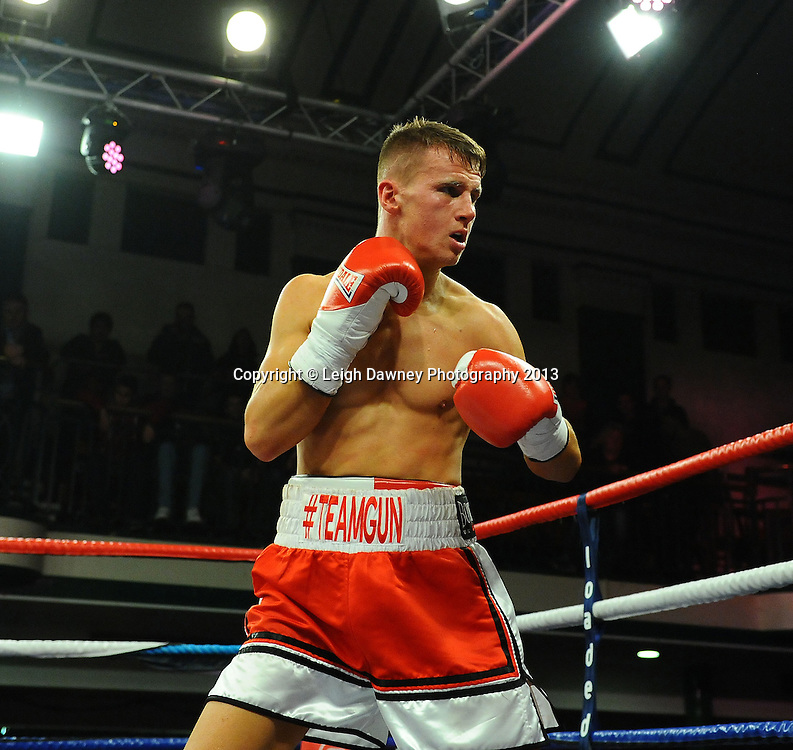 Tommy Martin defeats Andy Harris in a light welterweight contest at York Hall, Bethnal Green, London, UK on the 15th March 2013. Frank Maloney Promotions. © Leigh Dawney Photography 2013.