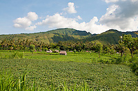 Panorama of fields and huts near Amed, East Bali, Indonesia