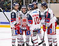 2019-10-15 | Umeå, Sweden: Västervik (8) Adam Plant makes the third goal for Västerviks IK in  HockeyAllsvenskan during the game  between Björklöven and Västervik at A3 Arena ( Photo by: Michael Lundström | Swe Press Photo )<br /> <br /> Keywords: Umeå, Hockey, HockeyAllsvenskan, A3 Arena, Björklöven, Västervik, happy happiness celebration celebrates,  mlbv191015