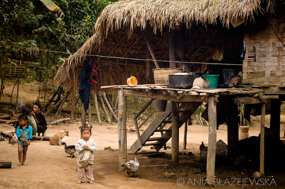 Laos, Luang Nam Tha. Khamu children near their house in Ban Nam Pick.<br /> <br /> The Khamu arrived in northern Laos and Thailand in the early first millennium AD, making them one of the earliest inhabitants in the region. When the Lao arrived in the area they pushed the Khamu out of the valleys into higher land. <br /> <br /> Traditional Khamu villages can be found in low mountainous areas and forest valleys. The houses are built on low wooden stilts about 1 to 1.5 meters above the ground. The walls are made of bamboo mats without windows, the roof is covered with thatch. Traditional Khamu villages have a communal house, where young adolescent boys live and where men gather for important discussions or to work together on crafts. <br /> <br /> They cultivate rice, maize, cassava, gourds, eggplants, peanuts and vegetables. Besides that Khamu grow tobacco and brew whisky for self-consumption. They keep a few buffaloes, cattle and goats. Pigs and poultry are kept in larger numbers. <br /> <br /> The Khamu believe in several spirits and every village has a guardian spirit. Spirit gates are erected over the entrance to Khamu villages and special houses are built to make sacrifices. The Khamu practice a form of ancestor worship. Every village has a shaman and several sorcerers. <br /> <br /> The Khamu have never engaged intensively in weaving and buy most of their cloths from others. <br /> The festive dress of a Khamu woman includes a long-sleeved dark vest open at the front, often with red hems, a dark based sarong with many colored strings or motifs and a kerchief. On ordinary days Khamu women wear the Lao-styled sarongs and ordinary blouses with a multitude of bright colors. The older women wear a headscarf, the younger women wear their hair bound up in a bun and leave it uncovered. they decorate themselves with silver and copper bracelets can be found on the arms and legs.