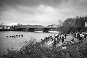 London. United Kingdom,  Competitors boating for the 2018 Women's Head of the River Race.  Location Barnes Bridge, Championship Course, Putney to Mortlake. River Thames, <br />