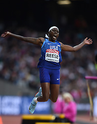 August 11, 2017 - London, England, United Kingdom - Gold medal winner Brittney Reese of USA jumps in the long jump final in London at the 2017 IAAF World Championships athletics at the London Stadium in London on August 11, 2017. (Credit Image: © Ulrik Pedersen/NurPhoto via ZUMA Press)