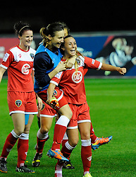Bristol Academy Womens' Natasha Harding celebrates with Bristol Academy Womens' Corinne Yorston  - Photo mandatory by-line: Joe Meredith/JMP - Mobile: 07966 386802 - 13/11/2014 - SPORT - Football - Bristol - Ashton Gate - Bristol Academy Womens FC v FC Barcelona - Women's Champions League